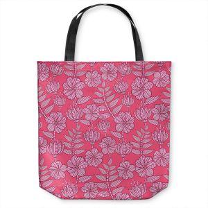 Unique Shoulder Bag Tote Bags | Julia Grifol - Kenia 1 Pink | Flowers nature pattern leaves branches