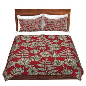 Artistic Duvet Covers and Shams Bedding | Julia Grifol - Kenia 1 Red | Flowers nature pattern leaves branches