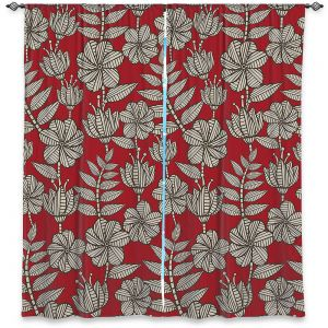 Decorative Window Treatments | Julia Grifol - Kenia 1 Red | Flowers nature pattern leaves branches