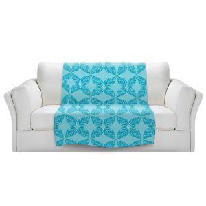 Artistic Sherpa Pile Blankets   Julia Grifol - Leaves Blue