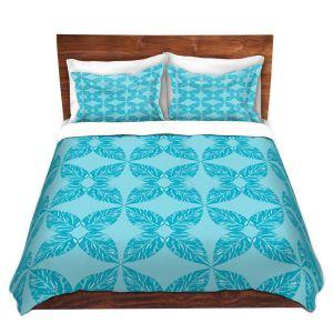 Artistic Duvet Covers and Shams Bedding   Julia Grifol - Leaves Blue