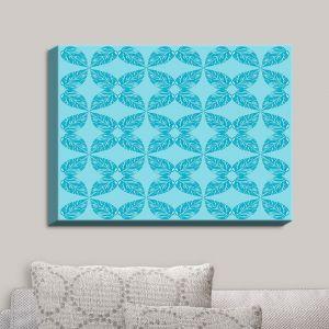 Decorative Canvas Wall Art | Julia Grifol - Leaves Blue | Patterns
