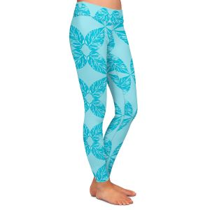 Casual Comfortable Leggings | Julia Grifol - Leaves Blue