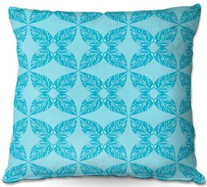 Decorative Outdoor Patio Pillow Cushion | Julia Grifol - Leaves Blue