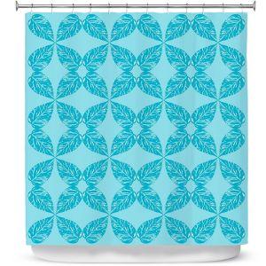 Premium Shower Curtains | Julia Grifol - Leaves Blue