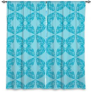 Decorative Window Treatments | Julia Grifol - Leaves Blue