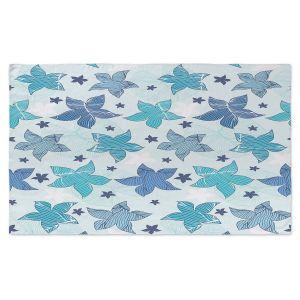 Artistic Pashmina Scarf | Julia Grifol - Sea Flowers Blue | Stars, nature, dots, pattern, graphics