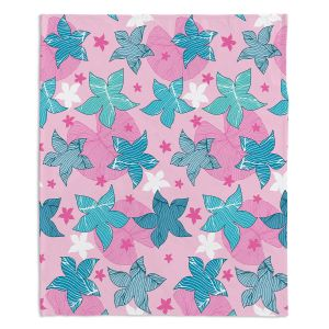 Artistic Sherpa Pile Blankets | Julia Grifol - Sea Flowers Pink | Stars nature dots pattern graphics