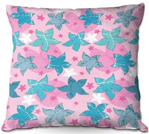 Decorative Outdoor Patio Pillow Cushion | Julia Grifol - Sea Flowers Pink | Stars nature dots pattern graphics