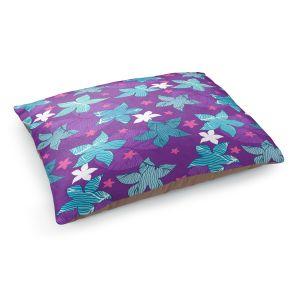 Decorative Dog Pet Beds | Julia Grifol - Sea Flowers Purple | Stars nature dots pattern graphics
