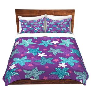 Artistic Duvet Covers and Shams Bedding | Julia Grifol - Sea Flowers Purple | Stars nature dots pattern graphics