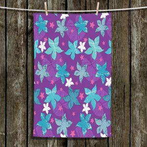 Unique Bathroom Towels | Julia Grifol - Sea Flowers Purple | Stars nature dots pattern graphics