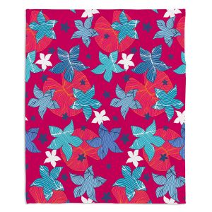 Decorative Fleece Throw Blankets | Julia Grifol - Sea Flowers Red | Stars nature dots pattern graphics