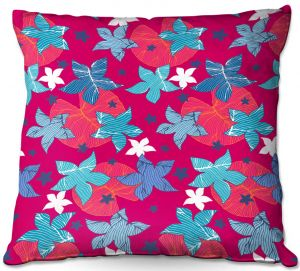 Throw Pillows Decorative Artistic | Julia Grifol - Sea Flowers Red | Stars nature dots pattern graphics