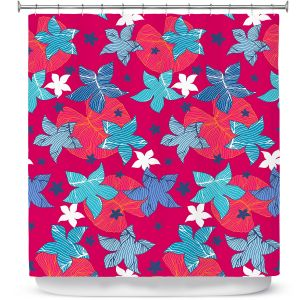 Premium Shower Curtains | Julia Grifol - Sea Flowers Red | Stars nature dots pattern graphics