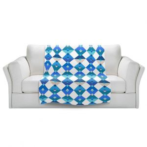 Artistic Sherpa Pile Blankets | Julia Grifol - Triangles Blue | Shapes colors pattern graphics