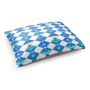 Decorative Dog Pet Beds | Julia Grifol - Triangles Blue | Shapes colors pattern graphics