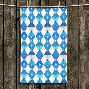 Unique Bathroom Towels | Julia Grifol - Triangles Blue | Shapes colors pattern graphics
