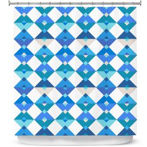 Premium Shower Curtains | Julia Grifol - Triangles Blue | Shapes colors pattern graphics