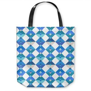 Unique Shoulder Bag Tote Bags | Julia Grifol - Triangles Blue | Shapes colors pattern graphics