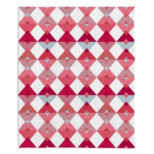 Decorative Fleece Throw Blankets | Julia Grifol - Triangles Pale Pink | Shapes colors pattern graphics