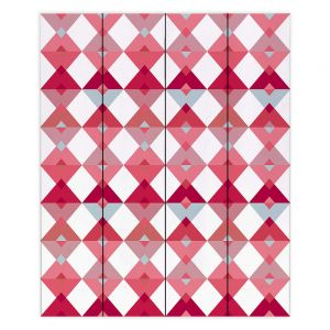 Decorative Wood Plank Wall Art   Julia Grifol - Triangles Pale Pink   Shapes colors pattern graphics