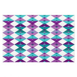 Decorative Floor Covering Mats | Julia Grifol - Triangles Purple | Shapes colors pattern graphics