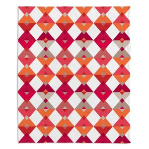 Artistic Sherpa Pile Blankets | Julia Grifol - Triangles Red | Shapes colors pattern graphics