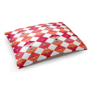 Decorative Dog Pet Beds | Julia Grifol - Triangles Red | Shapes colors pattern graphics