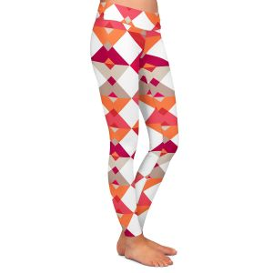 Casual Comfortable Leggings | Julia Grifol - Triangles Red | Shapes colors pattern graphics