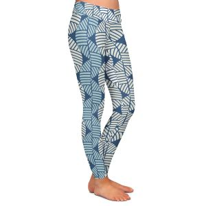 Casual Comfortable Leggings | Julia Grifol - Waves On Blue