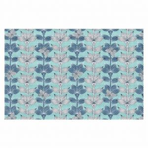 Decorative Floor Coverings | Julia Grifol White and Blue Flowers