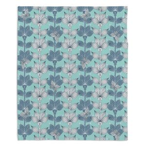 Decorative Fleece Throw Blankets | Julia Grifol - White and Blue Flowers