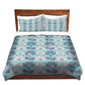 Artistic Duvet Covers and Shams Bedding   Julia Grifol - White and Blue Flowers I