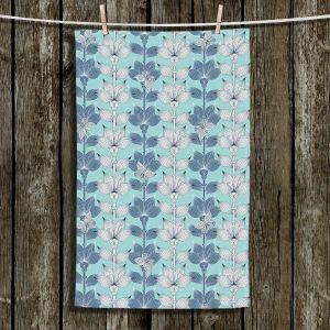 Unique Hanging Tea Towels | Julia Grifol - White and Blue Flowers I | Floral Pattern
