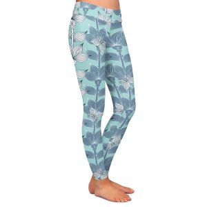 Casual Comfortable Leggings | Julia Grifol White and Blue Flowers