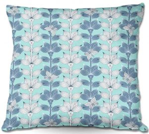 Decorative Outdoor Patio Pillow Cushion | Julia Grifol - White and Blue Flowers I