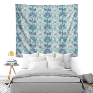Artistic Wall Tapestry | Julia Grifol White and Blue Flowers