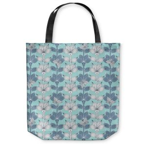 Unique Shoulder Bag Tote Bags | Julia Grifol White and Blue Flowers