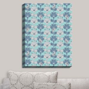 Decorative Canvas Wall Art   Julia Grifol - White and Blue Flowers I