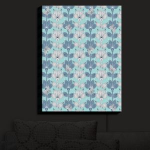 Nightlight Sconce Canvas Light | Julia Grifol - White and Blue Flowers I | Floral Pattern
