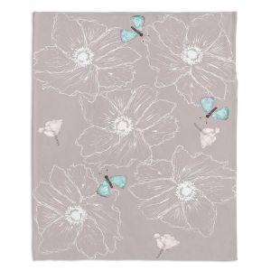 Decorative Fleece Throw Blankets | Julie Ansbro - Anemone Butterfly