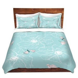 Artistic Duvet Covers and Shams Bedding   Julie Ansbro - Anemone Butterfly Turquoise