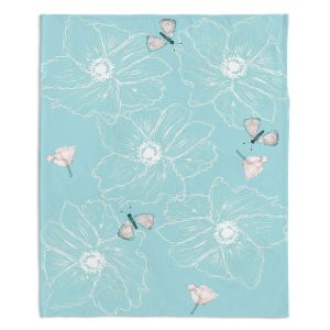 Decorative Fleece Throw Blankets | Julie Ansbro - Anemone Butterfly Turquoise