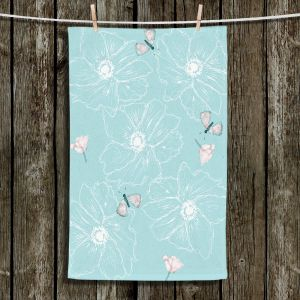 Unique Hanging Tea Towels | Julie Ansbro - Anemone Butterfly Turquoise | Flowers Bugs