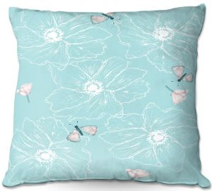 Decorative Outdoor Patio Pillow Cushion | Julie Ansbro - Anemone Butterfly Turquoise