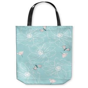 Unique Shoulder Bag Tote Bags   Julie Ansbro - Anemone Butterfly Turquoise
