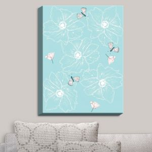 Decorative Canvas Wall Art | Julie Ansbro - Anemone Butterfly Turquoise | Flowers Bugs