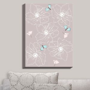 Decorative Canvas Wall Art | Julie Ansbro - Anemone Butterfly | Flowers Bugs