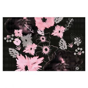 Decorative Area Rug 4 x 6 Ft from DiaNoche Designs by Julie Ansbro - Black Pink Flowers